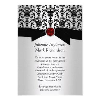 Damasco de plata negro Invitatio que se casa de Invitación 12,7 X 17,8 Cm