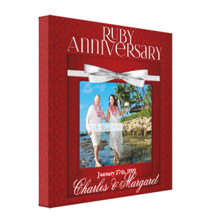 damasco de rubíes del rojo del aniversario de boda lienzo