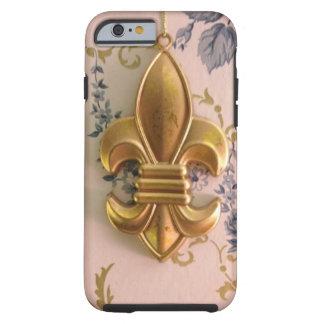 Damasco del azul de la flor de lis del oro del funda de iPhone 6 tough