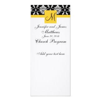 Damasco del blanco del negro del monograma del invitación 10,1 x 23,5 cm