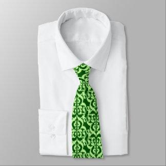 Damasco del Moorish de Ikat - pino y verde menta Corbata Personalizada
