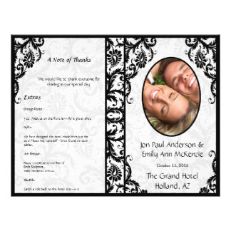 Damasco del negro del programa del boda de la foto folleto 21,6 x 28 cm