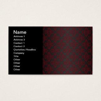 Damasco del negro oscuro y del rojo tarjeta de negocios
