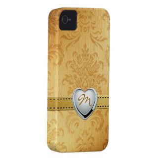 Damasco del oro del vintage con el monograma funda para iPhone 4