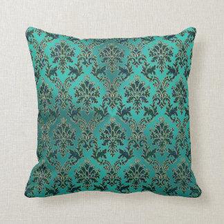 Damasco del verde azul del trullo en la almohada