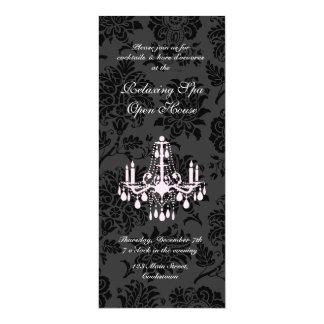 Damasco del Victorian del negro de la casa abierta Invitación 10,1 X 23,5 Cm