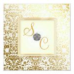 Damasco del vintage del en Oro de PixDezines Invitación 13,3 Cm X 13,3cm