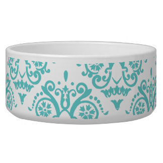 Damasco elegante azul y blanco del trullo comedero para mascota