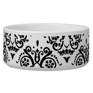 Damasco elegante blanco y negro comedero para mascota