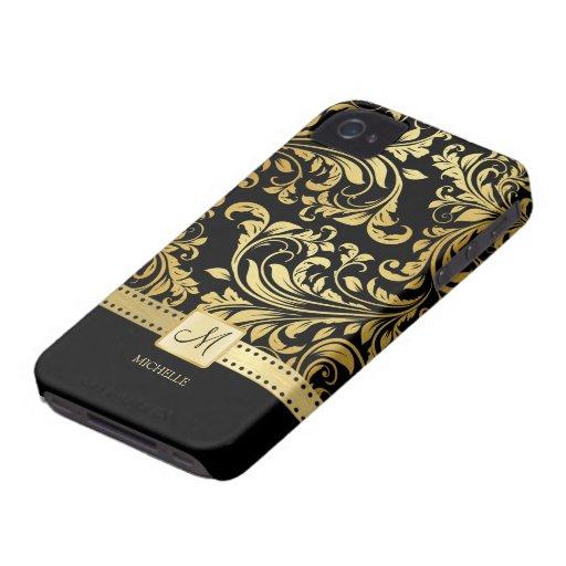 Damasco elegante del negro y del oro con el monogr iPhone 4 Case-Mate cárcasa