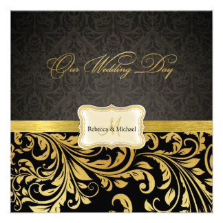 Damasco elegante del negro y del oro con el monogr anuncios personalizados