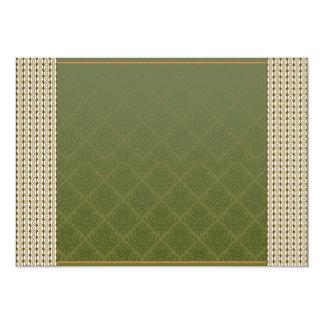 Damasco elegante del verde de mar invitación 12,7 x 17,8 cm