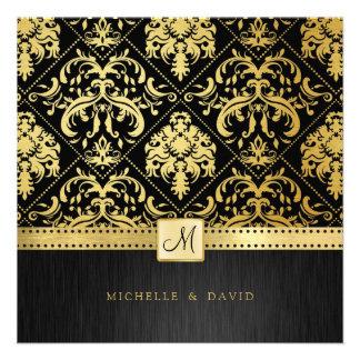 Damasco elegante del vintage del negro y del oro c comunicados