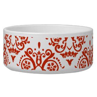 Damasco elegante rojo y blanco comedero para mascota
