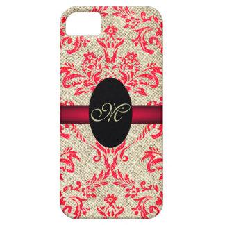 Damasco femenino y arpillera del vintage del monog iPhone 5 protector