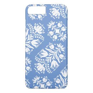 Damasco floral azul y blanco del arte popular funda iPhone 7 plus