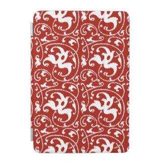 Damasco floral de Ikat - rojo oscuro y blanco Cubierta De iPad Mini