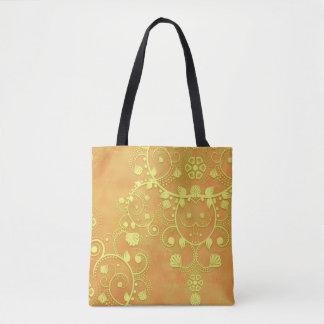 Damasco floral de lujo anaranjado del oro amarillo bolso de tela