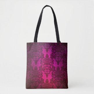 Damasco floral de lujo púrpura de color rosa bolsa de tela