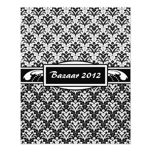 Damasco floral del art d co blanco y negro elegant flyer for Corredor deco blanco y negro