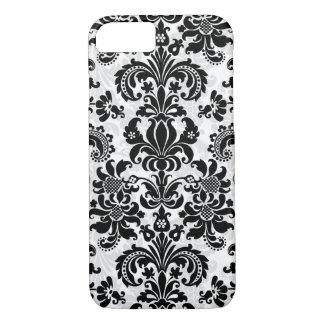 Damasco floral del vintage blanco y negro funda iPhone 7