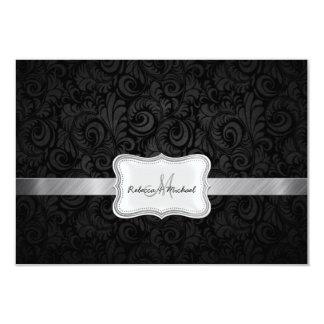 Damasco floral negro y gris que casa la tarjeta de invitaciones personalizada