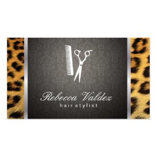 Damasco/impresión/borde de plata del guepardo tarjetas de visita