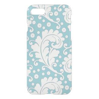 Damasco intrépido azul y blanco elegante funda para iPhone 7