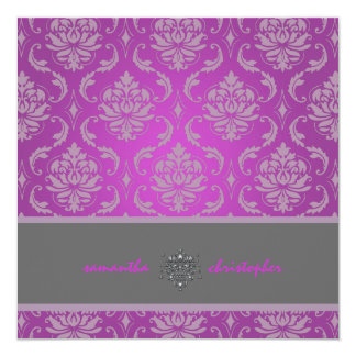 Damasco/lila/magenta/gris de PixDezines Vendome Invitación 13,3 Cm X 13,3cm
