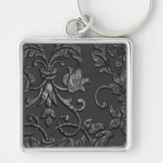 Damasco metálico grabado en relieve, estaño llavero cuadrado plateado