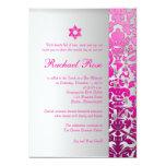Damasco/Mitzvah/rosa/plata de la flora de Invitación 12,7 X 17,8 Cm
