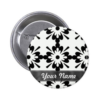 Damasco moderno negro y blanco pin