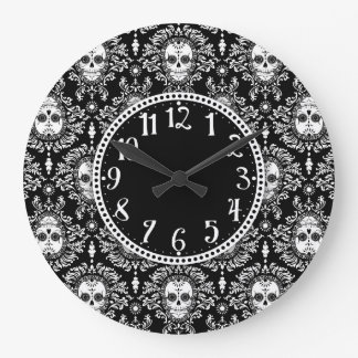 Damasco muerto - cráneos elegantes del azúcar reloj redondo grande