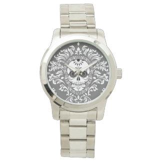 Damasco muerto - reloj elegante del cráneo del