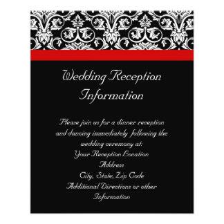 Damasco negro/blanco con acento rojo encantador tarjetas publicitarias