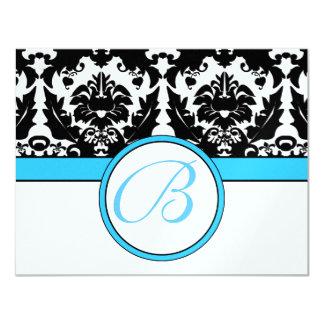 Damasco negro con el boda brillante del borde azul invitación 10,8 x 13,9 cm