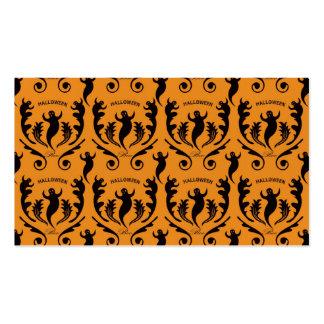Damasco negro del fantasma en el naranja tarjetas de visita