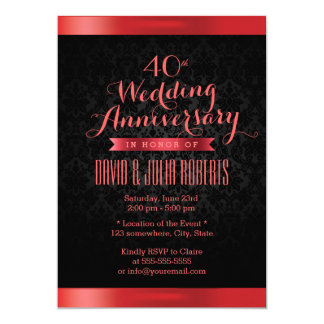 Damasco negro elegante de rubíes del aniversario invitación 12,7 x 17,8 cm