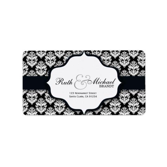 Damasco negro - etiquetas del boda