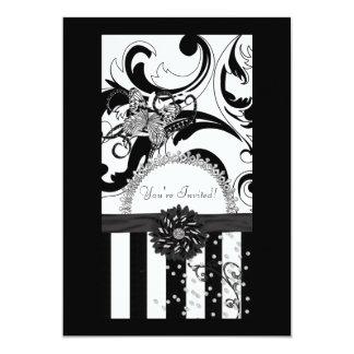 ¡Damasco negro y blanco, le invitan! Invitación 12,7 X 17,8 Cm