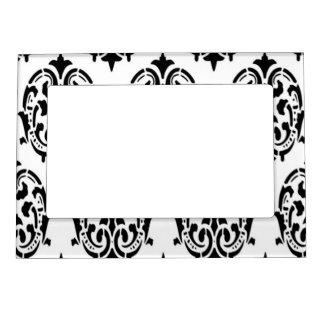 Damasco negro y blanco marcos magneticos para fotos