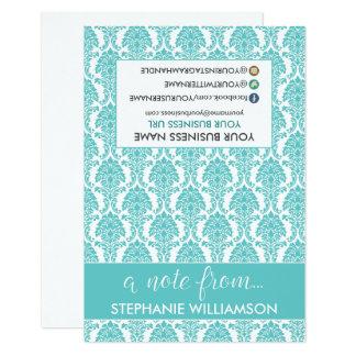 Damasco Notecards (azul tiffany) del estilista de Invitación 8,9 X 12,7 Cm