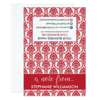 Damasco Notecards del estilista de la ETIQUETA Invitación 8,9 X 12,7 Cm