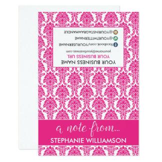 Damasco Notecards (fucsia) del estilista de la Invitación 8,9 X 12,7 Cm