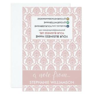 Damasco Notecards (rosa color de rosa) del Invitación 8,9 X 12,7 Cm