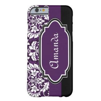Damasco púrpura de encargo funda de iPhone 6 barely there