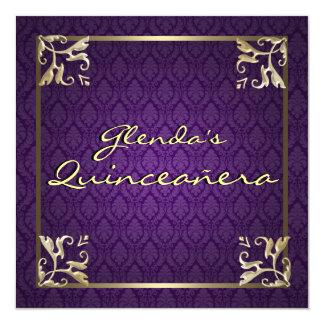 Damasco púrpura Quinceañera Invitación 13,3 Cm X 13,3cm
