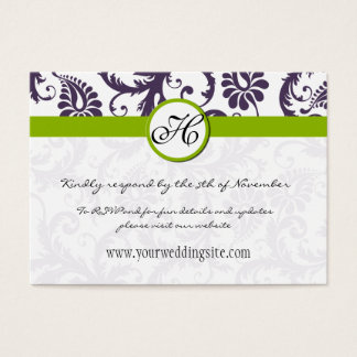 Damasco púrpura verde de Lapis que casa tarjetas