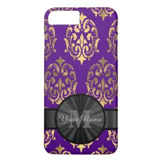 Damasco púrpura y monograma personalizado oro funda iPhone 7 plus