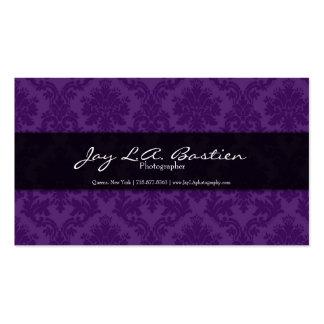 Damasco púrpura y negro con las letras blancas tarjetas de visita